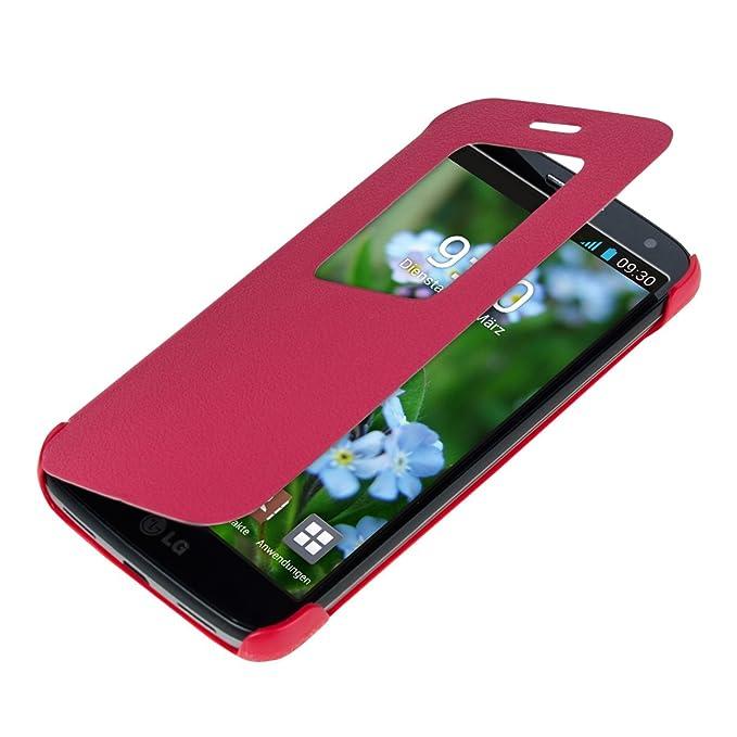 kwmobile Funda para LG G2 Mini - Carcasa de Cuero sintético con Ventana - Case Protector en Rosa Fucsia