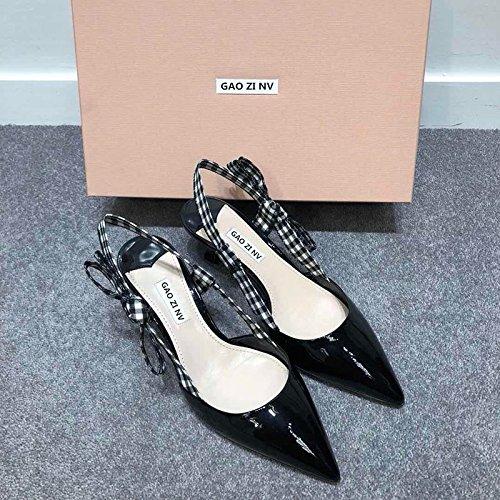 nuovo In con Tie tacco tacco scarpe scarpe medio bianco sottolineato pattino e nero scarpe Baotou belle Gatto fondale nera e il filtro e alto cravatta ha il cm Bow e ZHANGYUSEN 5 di alto UYqTFPIx