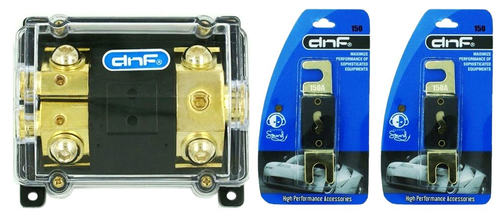 DNF ANL Fuse Holder 1-Hole In & 2-Hole Out 0/2/4 Gauge (FREE 2 PACK 150 AMP ANL FUSE)