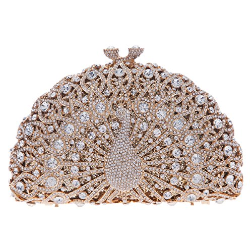 Crystal Jeweled Handbag - Fawziya Luxury Crystal Clutches For Women Peacock Clutch Evening Bag-Gold
