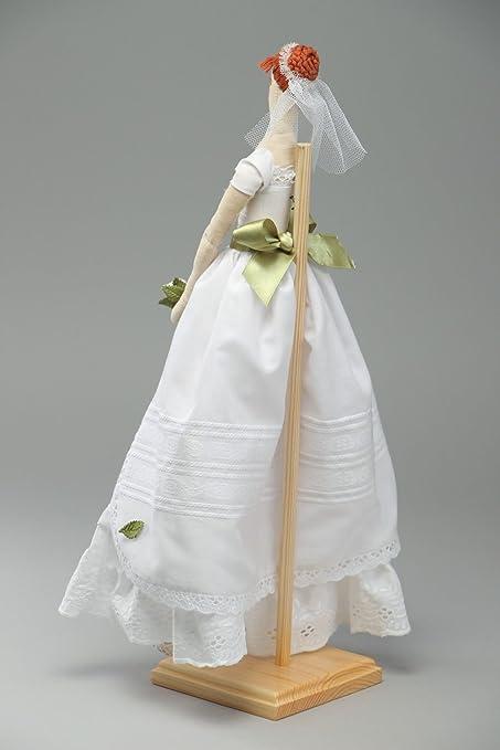 Muneca artesanal de tela con vestido de boda hermosa decorativa: Amazon.es: Juguetes y juegos