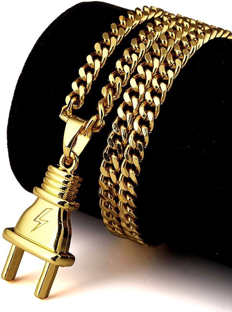 Free Chain JAJAFOOK Hip Hop Cuban Chain 14k Gold Plated Punk Power Plug Pendant