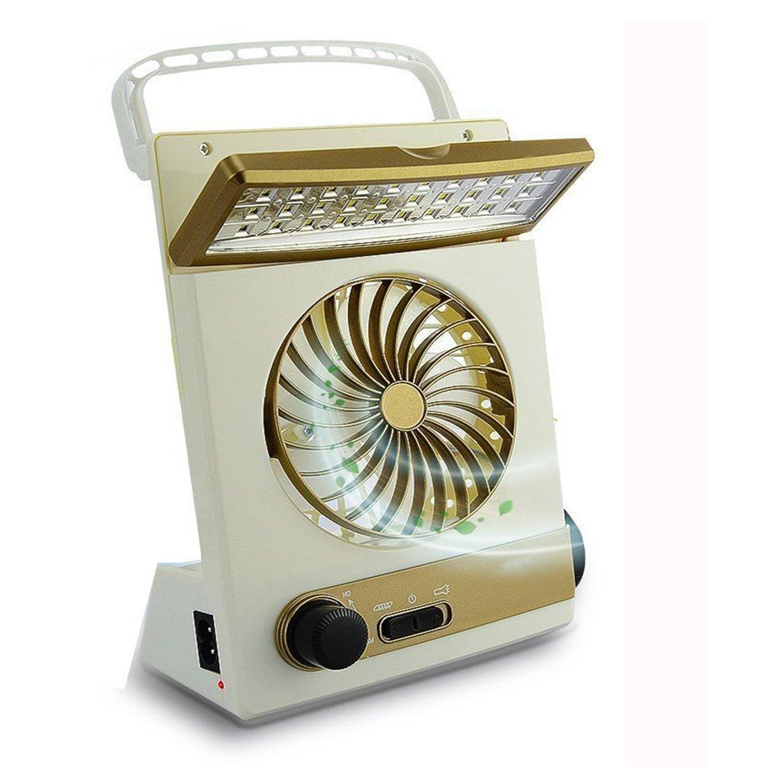KASQA Solar Table Lamp Mini Fan 3 in 1 Multi-function Portable Eye-Care Desk Light Flashlight Solar Light For Adult Children Home Camping Solar Cooling Fans(Gold)