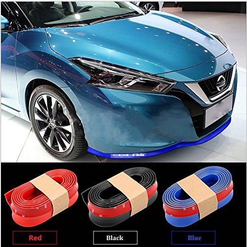 Price comparison product image Nicebee 2.5M Red Universal Car Carbon Fiber Front Bumper Lip Splitter Chin Spoiler Skirt Rubber Protector Rubber Body Kit Trim