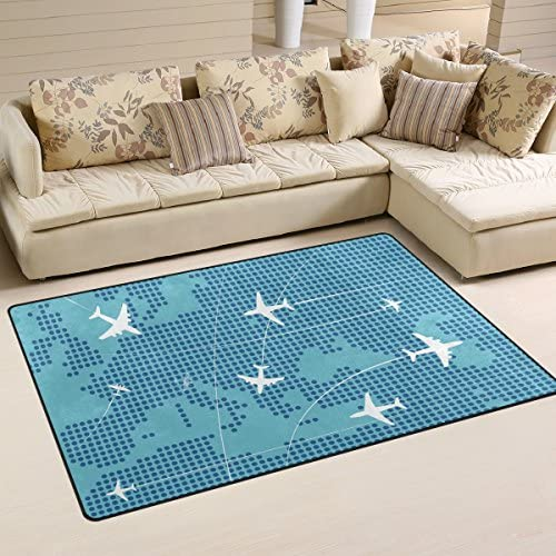 DEYYA Airplanes Flying Track Area Rug Carpet Non-Slip Floor Mat Doormats for Living Room Bedroom 60 x 39 inches