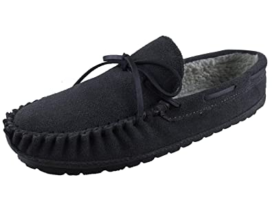 e6ae6411fc3bf Lyra Mens Warm Winter Genuine Suede Leather Moccasin Slippers Comfy Slip On  Indoor Outdoor House Shoes