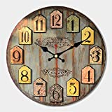 MEISTAR 12 Inch Wall Clock Round Vintage Rustic Country Tuscan Style Wooden Home Decorative Wall Clock Battery Operated Review