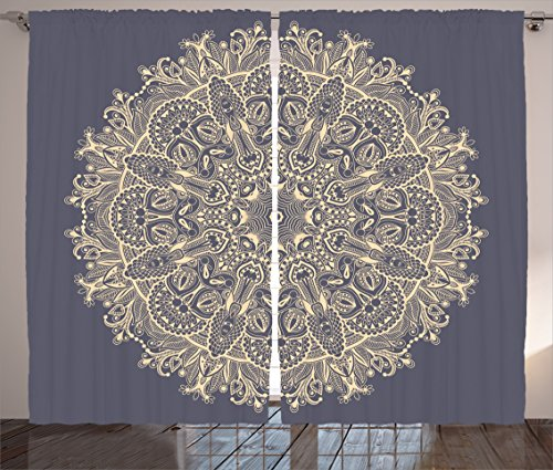 Mandala Curtains by Ambesonne, Asian Style Floral Mystery Deep Active Love Sun Moon Sign Boho Art Design, Living Room Bedroom Window Drapes 2 Panel Set, 108 W X 84 L Inches, Cadet Blue (Moon Florals Art)