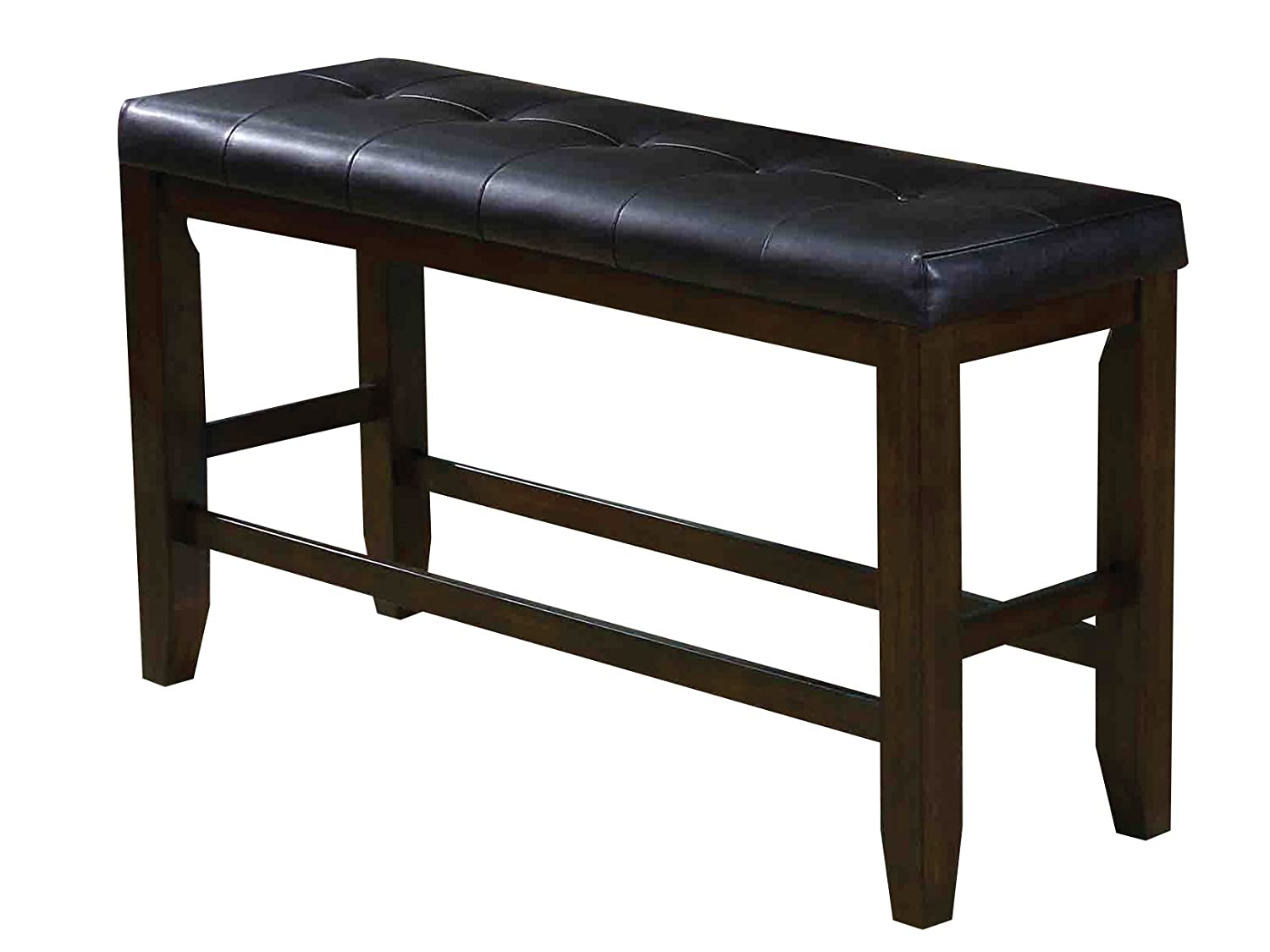 ACME Furniture bench, Black PU & Espresso