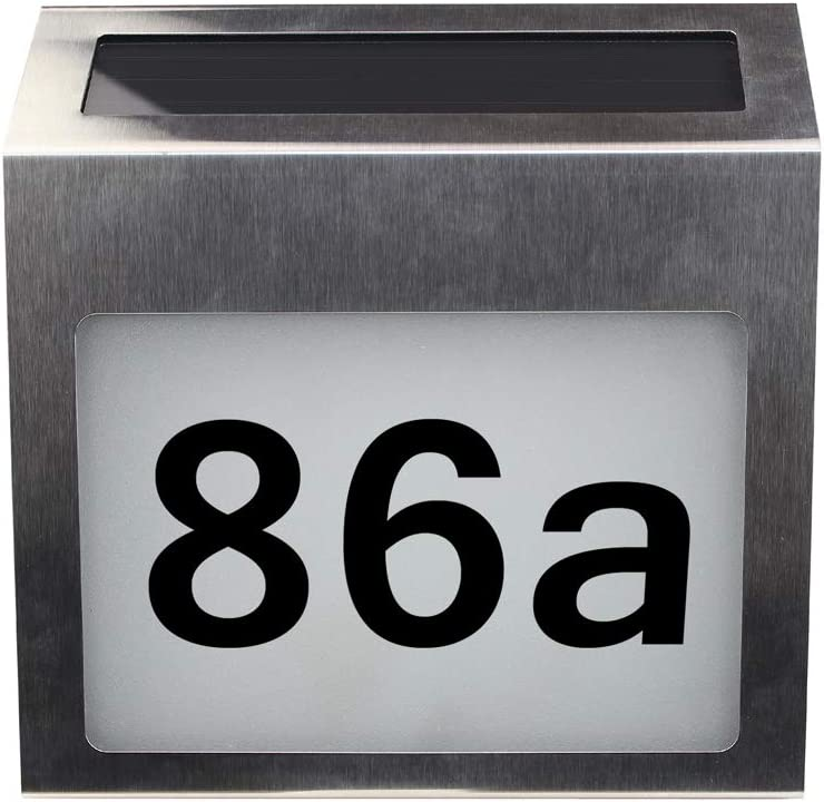 Galapara Solar Lighted Address Signs House Plaque Metal LED House Number with Light Sensor, DIY Letters & Numbers to Help Emergency Vehicles and Visitors Locate Your Home