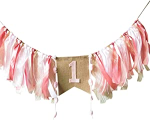 Baby Birthday Decoration - 1st Birthday Baby High Chair Banner Chair Tutu Skirt Decoration for Birthday Party Supplies (Pink)