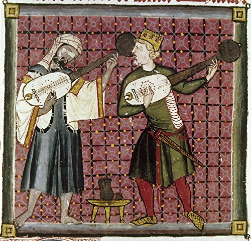Spain Music 13Th Century Na Spanish Muslim (Left) And Christian Strum On Citterns A Type Of Lute Manuscript Illumination 13Th Century From The Cantigas De Santa Maria Poster Print by ()