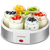 Flexzion Maker Machine with 7 Yogurt Containers Glass Jars - Automatic Electric Easy Yogurt Maker Machine