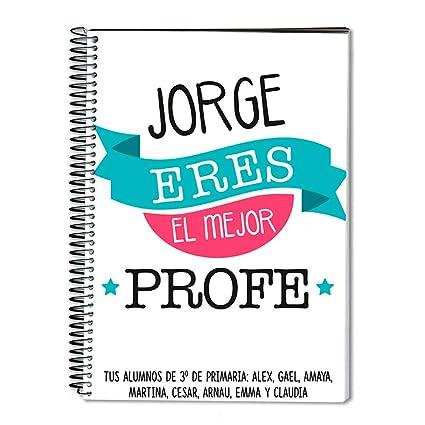 Regalo para profesores personalizable: cuaderno personalizado con su nombre (Mejor profe)