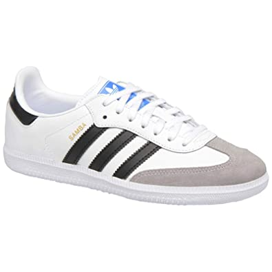 f9eb75e3952 adidas Youth Samba Original Leather Suede White Black Granite Trainers 4 US