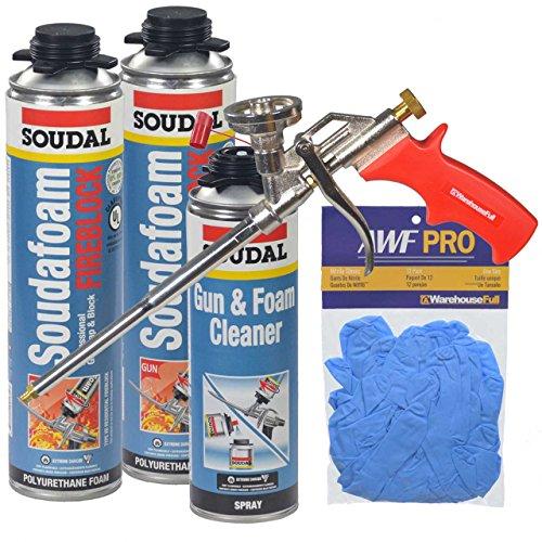 Fireblock Foam - Soudal Pro FireBlock Foam Sealant 2 - 24 oz cans + 1- 12 oz Pro Gun Cleaner + Foam Gun + Nitrile Gloves