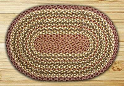 Earth Rugs 04-324 Oval Rug, 3 x 5', Olive/Burgundy/Gray
