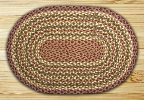 Earth Rugs 06-324 Oval Rug, 4 x 6', - Olive Gray Burgundy Jute