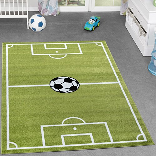 Kinder Teppich Fussball Spielen Kinderzimmerteppiche Fussballplatz in Grün Creme, Größe:200x280 cm