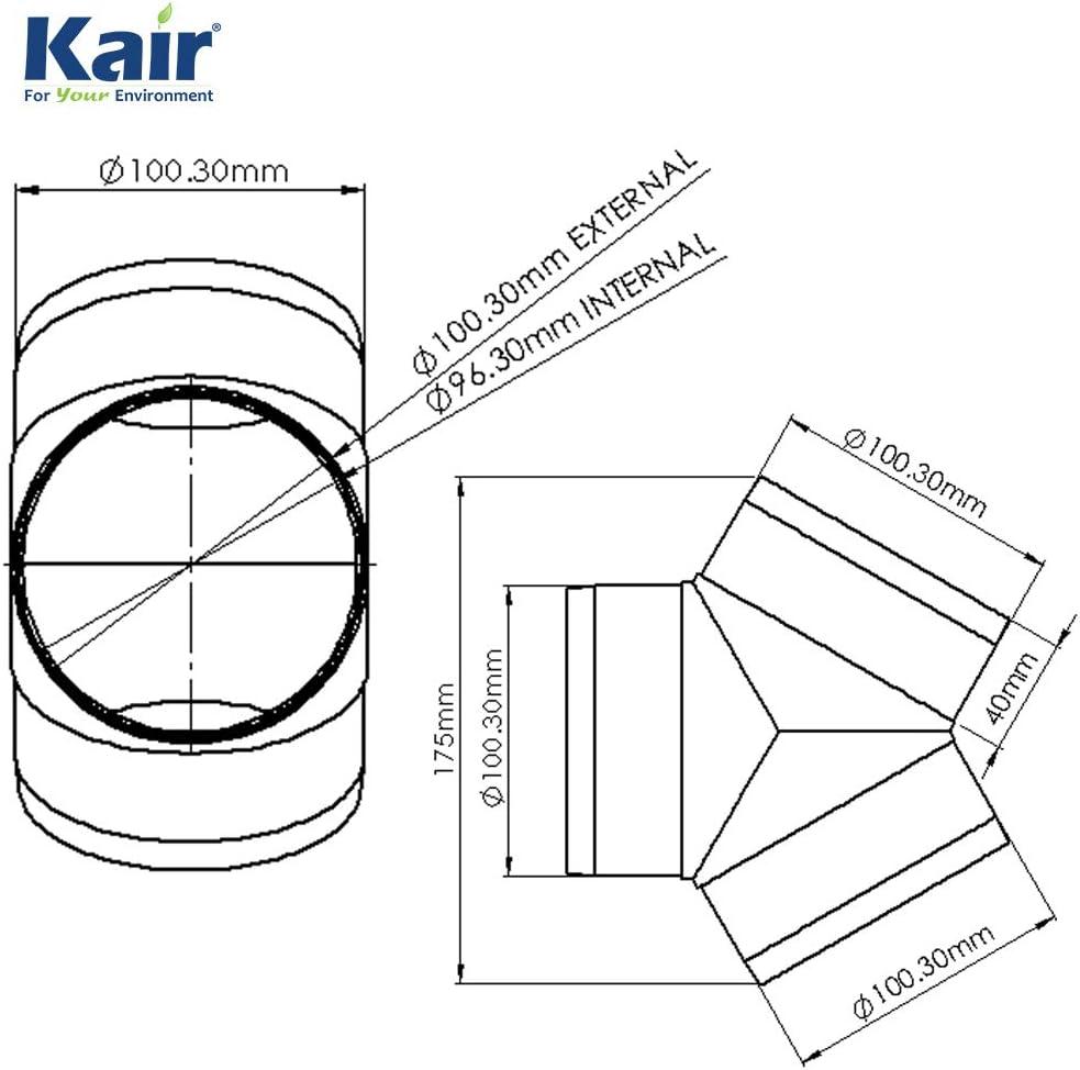 System 100/rond /égal 100/mm Raccord de//Splitter