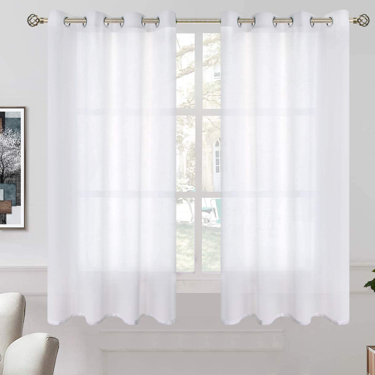 Amazon Com Bgment Linen Look Semi Sheer Curtains For Bedroom Grommet Light Filtering Casual Textured Privacy Curtains For Living Room 2 Panels Each 52 X 63 Inch White Home Kitchen