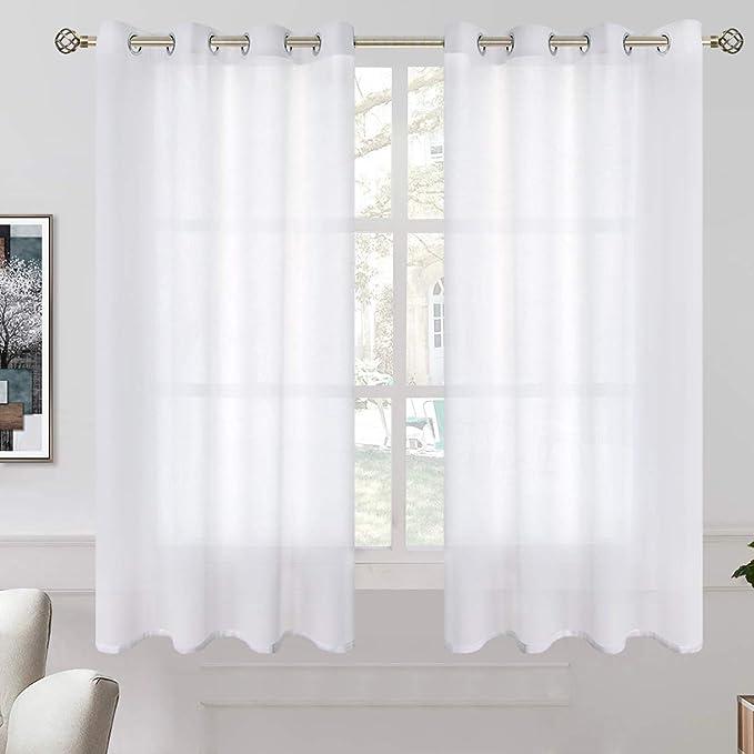 Grommet Semi Voile Light BGment Faux Linen Ombre Sheer Curtains for Living Room