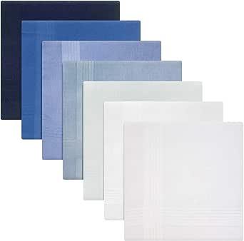 Pack de 7 pañuelos teñidos para hombre o caballero, azul a blanco ...