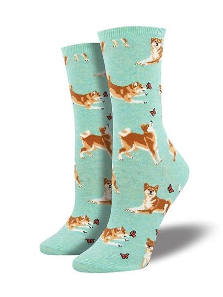 Shiba Inu Dog Mint Heather Design Women s 9-11 Cotton Stretch Crew Socks (2 d11174a767
