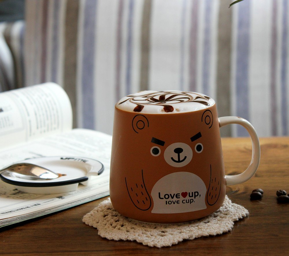 UPSTYLE Cute Animal Penguin Tea Mug Funny Lovely Tea and Coffee Mug Morning Coffee Milk Ceramic Water Cup with Lid and Handle for Office home - Best Gift for friends and family,10.8OZ(320ml)(Bear) by UPSTYLE (Image #5)