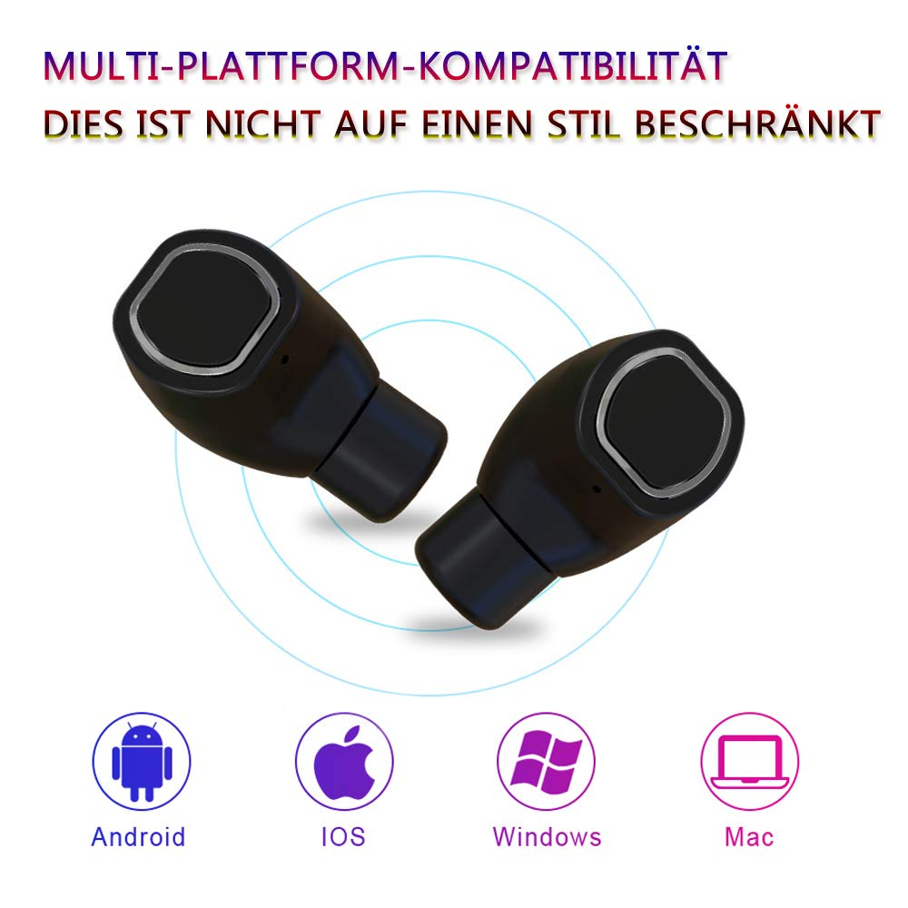 Bluetooth Kopfhörer in Ear - Bluetooth Headset V5.0 Stereo-MinikopfhörerOhrhörer Bluetooth Kabellos IPX6 Wasserdicht True Wireless Earbuds mit Ladekästchen und Integriertem Mikrofon, von Ruicer