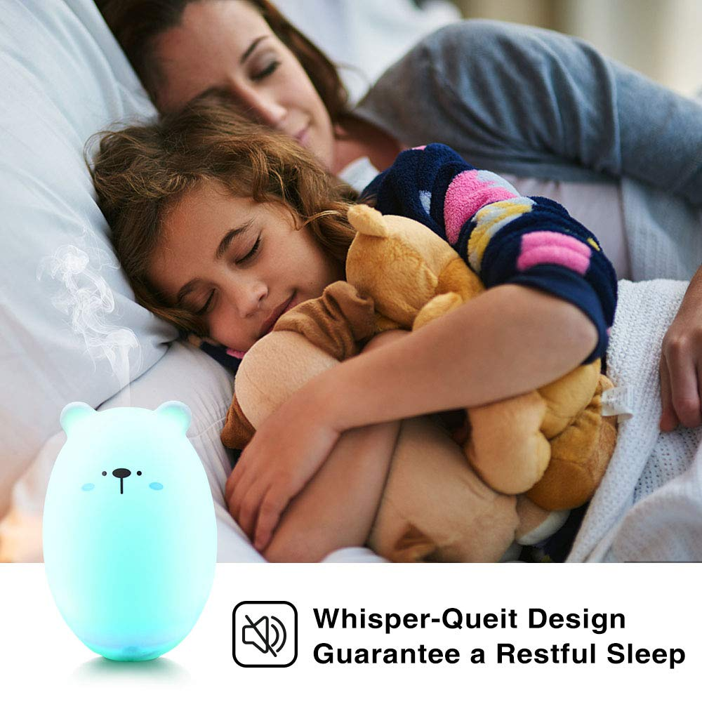 NUMIFUN Small Humidifiers Rechargeable Mini Humidifier with 7 LED Warm Lights Portable Personal Humidifier Quiet for Bedroom Travel Home Office Plants Baby,300ml