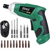 ZENKE 電動ドライバーセット 充電式 正逆転可能 照明機能 12本ビット 3本ツイストドリル 1本延長棒 コードレス