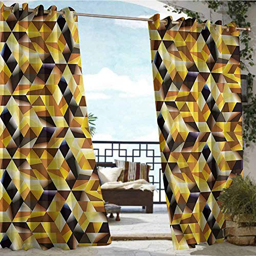 crabee Outdoor Blackout Curtains Abstract,Graphic Cubes Blocks,W72 xL108 Outdoor Patio Curtains Waterproof with Grommets