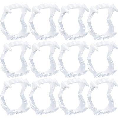 12 Piezas Dientes de Vampiro de Plástico Colmillos Blancos Miedo Monstruo de Halloween Hombre Lobo Colmillos de Zombis Fiesta de Halloween Disfraces Adolescentes Adultos: Juguetes y juegos