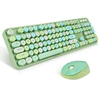 Wireless Keyboard and Mouse Combo, Sweet Mixed Color Cute Keyboard, 2.4G USB Ergonomic Keyboard and Mouse Combo for…