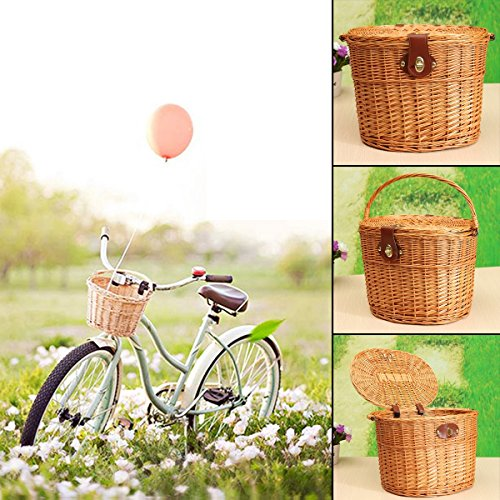 KINGSO Wicker Front Handlebar Bike Basket Bicycle Front Box with Lid and Handle