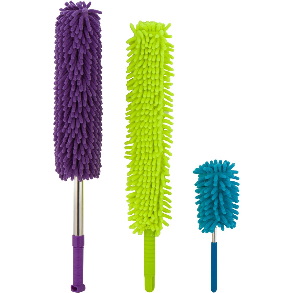Microfiber Hand Dusters Set| 3-Pack| 1x Telescopic/Extendable Ceiling Duster, 1x Bendable Duster & 1x Mini Telescopic Duster For Car Use| Heart & Abode House, Kitchen & Automotive Cleaning Supplies Anastasia Doyle 6640105