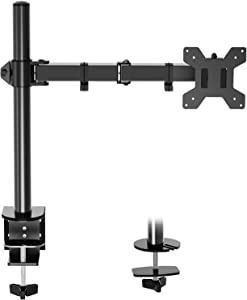 Single Monitor Desk Mount, Height Adjustable Computer Monitor Stand Mount, Full Motion Monitor Arm Desk Mount Fits 13 to 27 Inch Screens, with C-Clamp and Grommet Base, VESA 75x75/100x100, MU0001