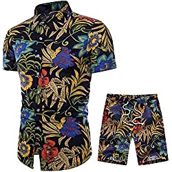 HaoDong Mens Summer Shirts Pants Sets - Fashion Printed Suit Casual Short Sleeve Clothing US S