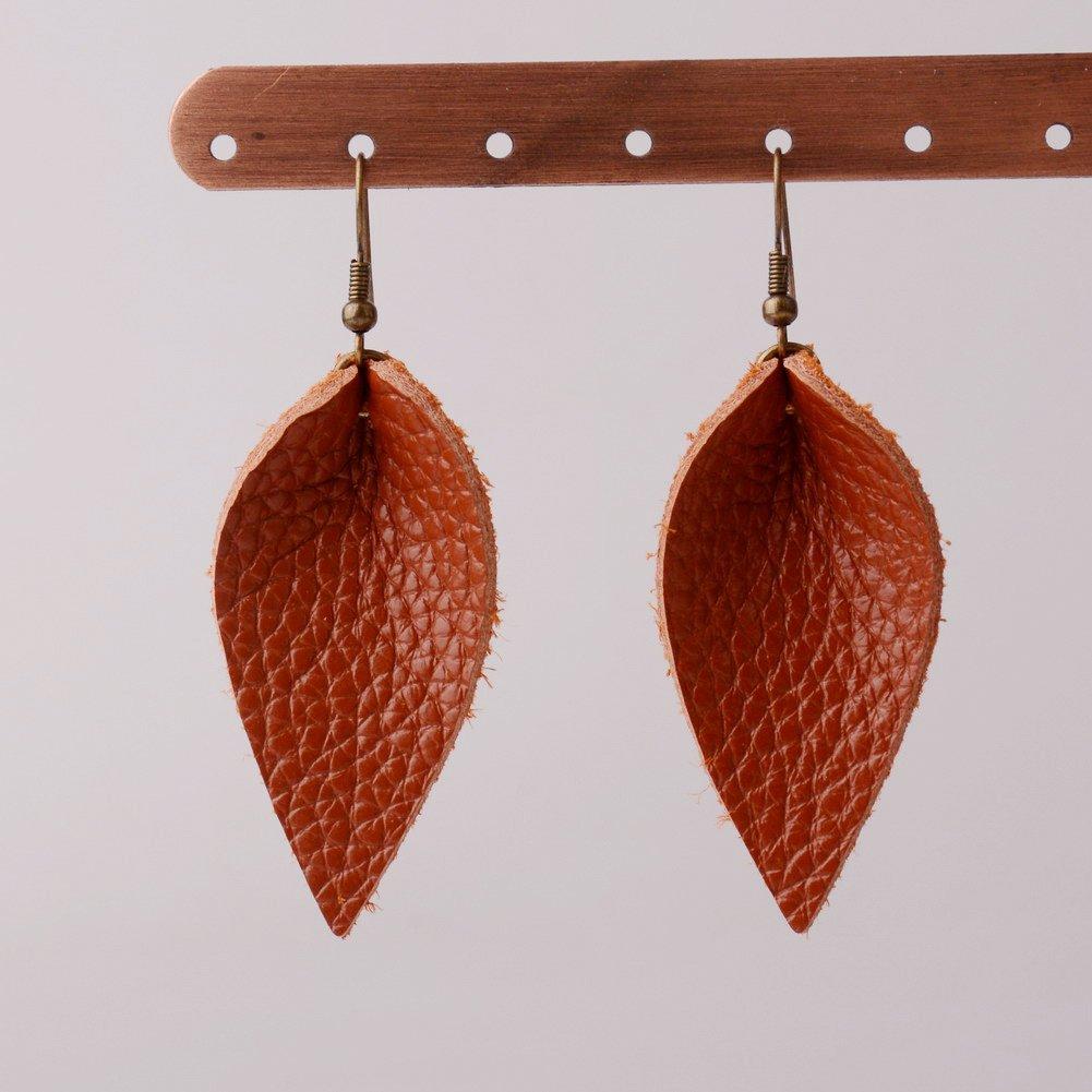 L/&N Rainbery 2 Pairs Petal Leather Earrings Faux and Genuine Leather Teardrop Earrings Leaf Drop Earrings