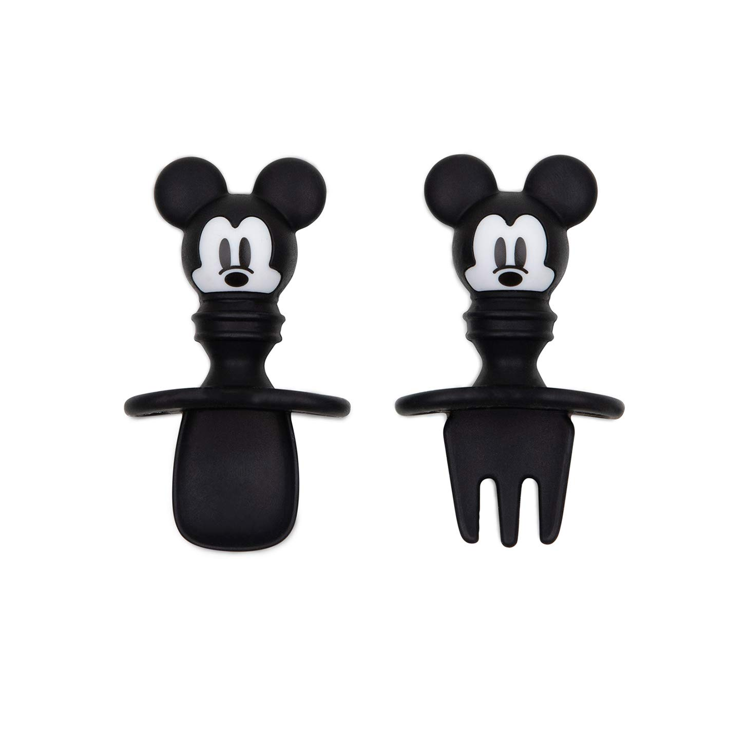 Bumkins Disney Silicone Chewtensils, Baby Fork & Spoon Set, Training Utensils, Baby Led Weaning Stage 1 for Ages 6 Months+ Mickey Mouse