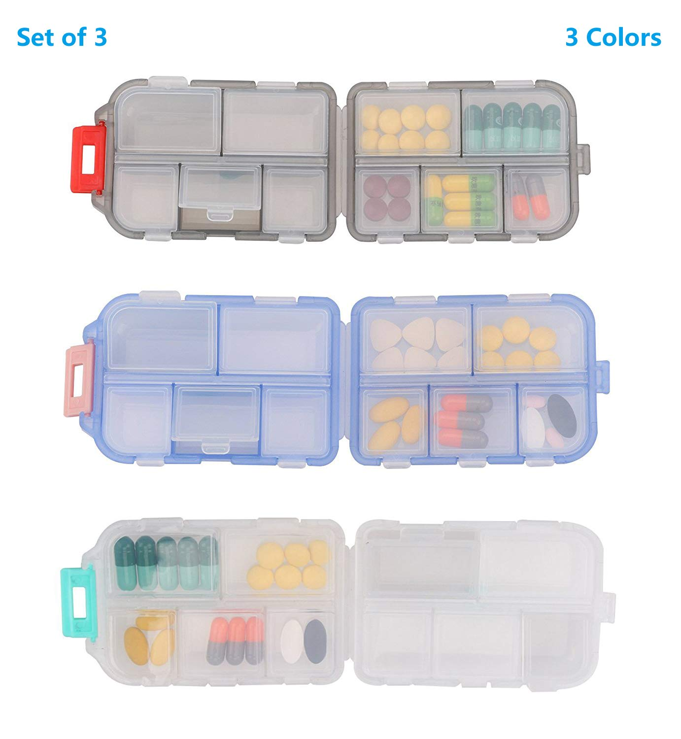 Yeeho Pill Case (3 Pack) - Portable Small Supplements Tablet Container Box with 10 Compartments - Medicine Capsule Vitamin Fold Flip Organizer Dispenser Holder Storage for Travel Trip Pocket Purse by YEEHO (Image #2)