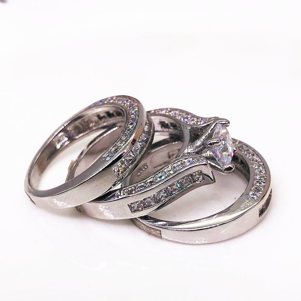 Valentines Ideas for Her,Keepfit Women's Vintage 3-in-1 Engagement Wedding Band Ring Set(Silver,6) by Keepfit_Rings (Image #2)