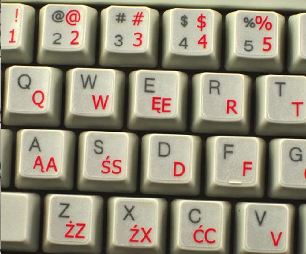 Polish English Dual Language White Keyboard Stickers with Black//Red Letters