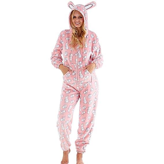 nouveau style de sur les images de pieds de super promotions Selena Secrets Femmes/Femmes Imprimé Lapin Polaire Combinaison à Capuche  Combinaison Tout en Un Pyjama Rose Taille 8-18