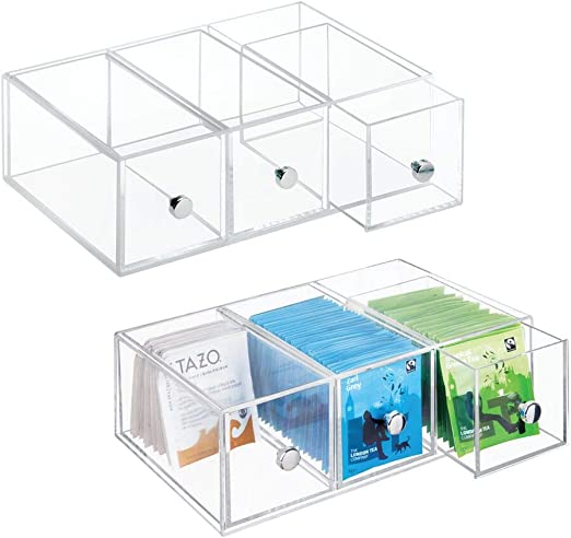 mDesign Minicajonera con 3 cajones de plástico – Perfecta como ...