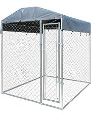 vidaXL Perrera de Exterior con Toldo Acero Galvanizado 2x2 m Jaula de Perros