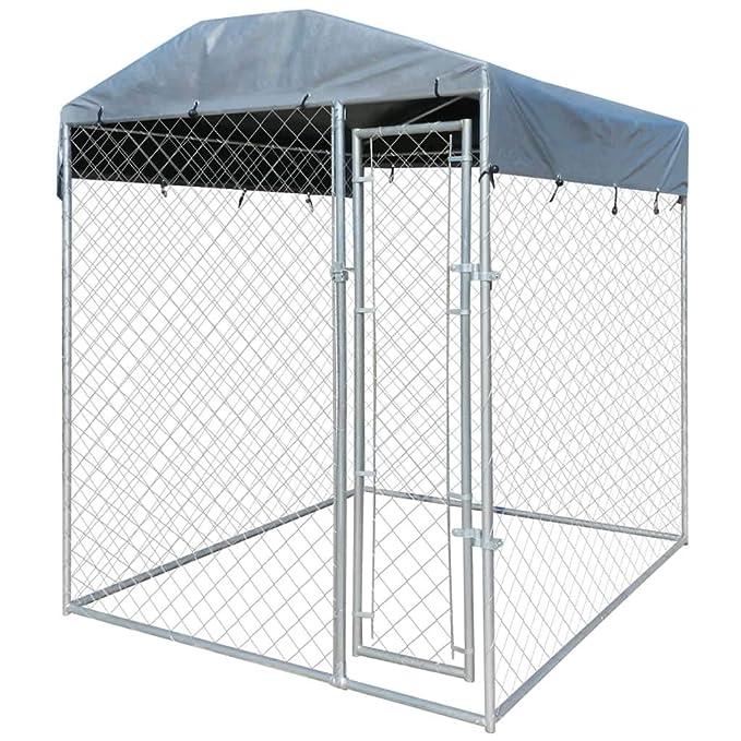 vidaXL Perrera de Exterior con Toldo Acero Galvanizado 2x2 m Jaula de Perros: Amazon.es: Productos para mascotas