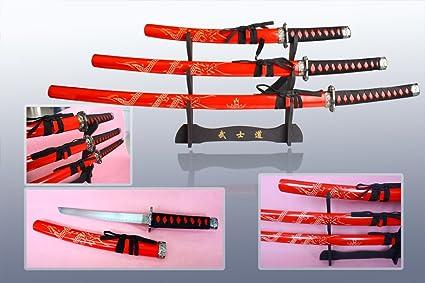 Amazon.com: Samurai Dragón rojo espada de 3 piezas con ...