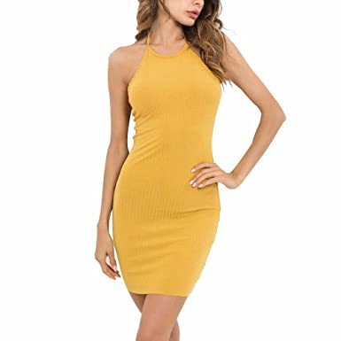 01fcc58163c7f 2018 Sexy Womens Summer Fashion Street Causal Halter Backless Sleeveless  Mini Sling Dress Yellow L  Amazon.co.uk  Clothing